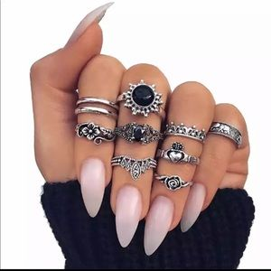 Boho 10 Piece Ring Set
